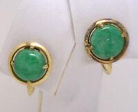 Vintage 14KYG Screwback Earrings GENUINE Jadeite Jade with A lot of Apple Green!