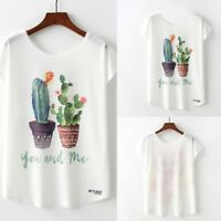 Summer Women's Fashion Cactus Print O-Neck Short Sleeve Loose T-shirt Blouse Top