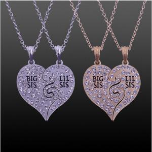 Lil Sis Rhinestone Big Sis Gift Sister Gift Broken Heart 2 Pcs Necklace