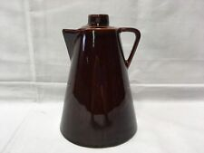 ANTIQUE BROWN GLAZED TRIANGLE FORM CONCAVE BASE HANDLE PITCHER 7""
