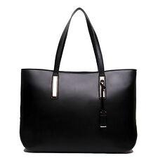 Women Designer PU Leather Large Tote Bag Shoulder Satchel Handbag Black