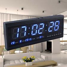 Blue Digital Large Jumbo LED Wall Alarm Calendar Desk Clock Temperature 4819 AU
