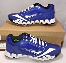 $100 Reebok Mens Size 12.5 Zig Tech 2.0 Baseball Cleats Metal Royal Blue White