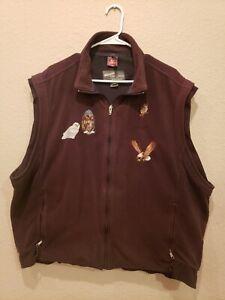 Simms WindStopper Vest Fleece Full Zip Men's XXL Brown Fishing Embroidered
