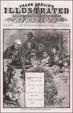 THANKSGIVING TABLE, SAYING GRACE, ANTIQUE ENGRAVING, ORIGINAL 1882