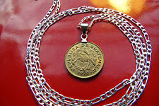 "Guatemala Bird and Muskets Coin Pendant 1970 on a 28"" .925 Sterling Silver Chain"