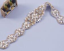 Bridal Wedding Bridesmaid Dress Gold Colour Crystal Pearl Ivory Ribbon Sash Belt