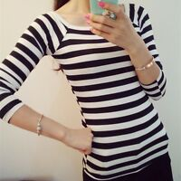 Fashion Women's Long Sleeve Blouse Lady Casual Slim Striped Bottoming Shirt Tops
