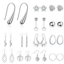 Ladies Stainless Steel Silver Plated Dangle Hoop Earrings Studs Fashion Jewelry