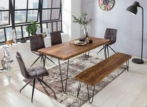 WOHNLING Esstisch BAGLI Massivholz Sheesham 120 cm Esszimmer-Tisch Holztisch