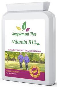 Vitamin B12 Methylcobalamin 1mg(1000mcg) 120 Capsules Not Tablets Immune Fatigue