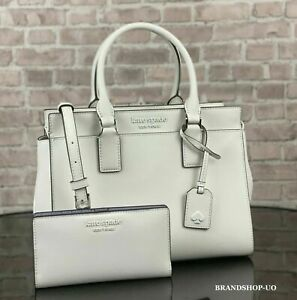 KATE SPADE CAMERON LEATHER SATCHEL CROSSBODY SHOULDER BAG PURSE WALLET SET White