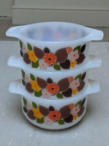 Set of 3 x 1960-70s Schott & Mainz JenaER glas soup bowls Orange Browm Pyrex VGC
