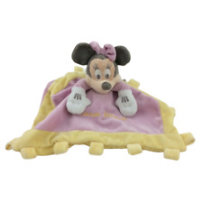 Disney Parks Minnie Mouse Lovey Security Blanket Baby Pink Yellow Crinkle Tags