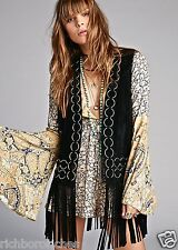 NEW Free People black Suede Fringed 70's Vest retro pewter rings XS