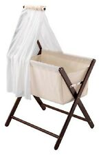 New Mothers Choice Coco Folding Bassinet With Veil Walnut Wooden Breathable Mesh