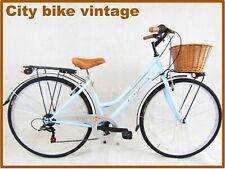 bicicletta donna bici da passeggio city bike 28 azzurra vintage retro' 6 velocit