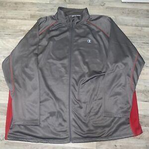Champion Men Full Zip CVapor Side Panel Contrast Jacket 5XL Gray Red