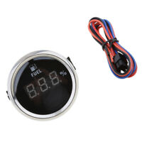 Marine Boat Car Digital Fuel Level Gauge 0-190ohm 52mm 9-32V Black Chrome