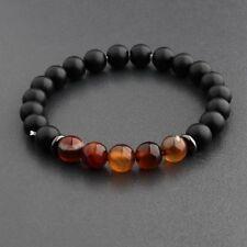 Fashion Men's Tiger Eye Natural Matte Bead Copper Shim Charm Lucky Bracelets