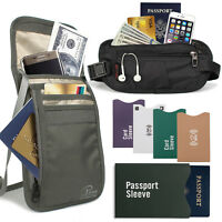 RFID Travel ANTI-THEFT Set - Neck Pouch Passport Holder Waist Bag ID Card Sleeve
