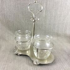 Antique Silver Plated Wine Bottle Stand  Condiment Glass Pickle Jar Cruet Caddy