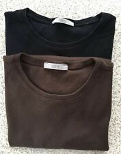 M&S T-Shirt Women's Cotton, Size 14, 2 Pack Black And Brown, Short Sleeve
