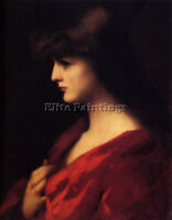 HENNER JEAN JACQUES STUDY WOMAN RED ARTIST PAINTING OIL CANVAS REPRO ART DECO