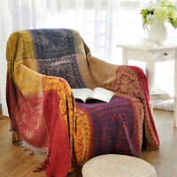 Chenille Jacquard Tassels Soft Chair Cover Throw Blankets Bed Couch Decorative