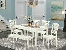 6pc Capri dinette kitchen dining table + bench + 4 Avon chairs in linen white