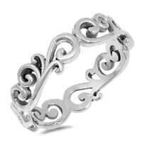 Sterling Silver 925 PRETTY FLORAL VINES DESIGN SILVER BAND RING 5MM SIZES 4-10