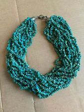 Chunk Necklace w/ sterling clasp Vintage 20 Strand Genuine Turquoise