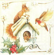 Lot de 2 Serviettes en papier Nichoir écureuil Decoupage Collage Decopatch