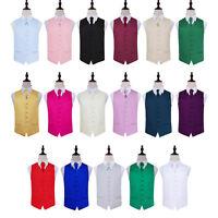 Classic Plain Solid Satin Mens Wedding Waistcoat & Cravat Set FREE Cravat Pin