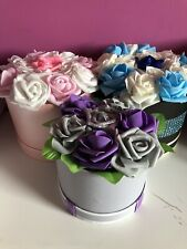 Stunning Flower Hat box Diamonte Foam Roses  Purple & Grey  MOTHERS DAY