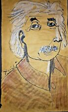 Pablo Picasso Einstein Portrait Original Watercolor Drawing Painting. Signed.