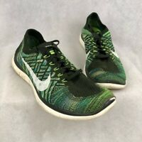 Nike Mens Free 4.0 Flyknit Running Shoes Green 717075-302 Lace Up Low Top 12 M