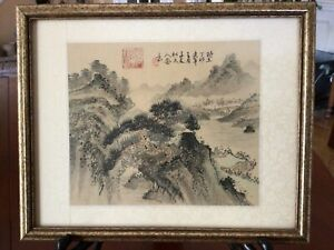 Chinese Original Landscape Watercolor Painting on Silk Signed