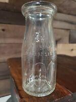 """VINTAGE """"400"""" 7 Oz EMBOSSED GLASS MILK BOTTLE 5 CENT ANTIQUE ORIGINAL"""
