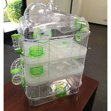 4 Level Sparkle Hamster Mice Mouse Cage with Large Top Exercise Ball Green 862