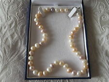 Pastel coloured, pink, peach and white freshwater pearl choker necklace