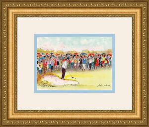 "HAND SIGNED Urbain HUCHET Original Color Lithograph ""Golf, la Foule"" FRAMED COA"