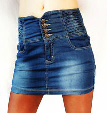 New Womens Girls High Waisted Mini Short Denim Skirt Size L,10-12 UK,Red Seventy