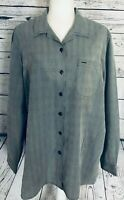 Liz Claiborne Women's XL Blouse Grey Button Down Long Sleeves Collared Soft
