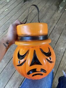 vintage halloween rare plastic pumpkin blow mold trick or treat pail