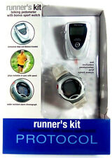 Protocol Talking Pedometer Step Counter Runner's Kit With Bonus Sport Watch New