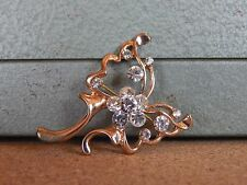 Costume Jewellery Brooch clear stones flower design 5cm