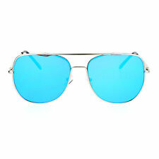 SA106 Mens Expose Lens Color Mirror Flat Top Metal Aviator Sunglasses