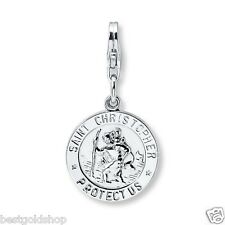 Saint Christopher Medal Charm Pendant Lobster Clasp Solid 925 Sterling Silver