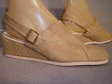8 NOS BEIGE Vtg 70s SLINGBACK CLOG SANDAL JUTE ESPADRILLE WEDGE HEEL  BOHO Shoe